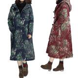 2015冬装新款复古花色连帽盘扣加厚棉衣中长款大码女装棉麻棉服