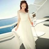 夏季新款雪纺连衣裙白色蕾丝度假裙波西米亚长裙吊带沙滩长裙子仙