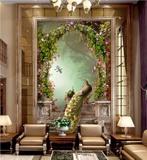 中式 3d玄关背景墙瓷砖 走廊客厅陶瓷壁画立体浮雕 孔雀