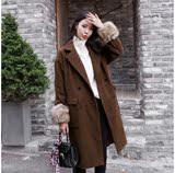 秋冬季韩版女中长款双排扣直筒羊绒毛呢大衣加厚休闲西装领呢外套