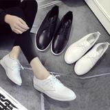 女鞋2016夏新款白色皮鞋单鞋平底小白鞋女真皮系带韩版休闲透气潮