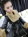 2015新款秋冬真皮女皮衣绵羊皮风衣皮外套中长款娃娃领通勤黑色PU