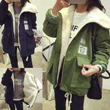 羊羔毛外套加绒加厚女长袖女装2015冬天字母印花学生上衣中款韩版