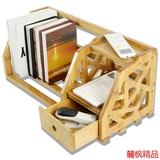 楠竹简易桌上书架实木创意办公室小书架原木桌面置物架书架特价