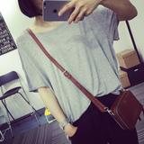 欧美慵懒风莫代尔宽松显瘦圆领卷边短袖T恤大码女装夏季蝙蝠衫潮