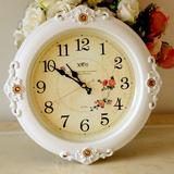 田园静音挂钟客厅钟表16英寸墙壁石英钟创意圆钟欧式现代时钟包邮
