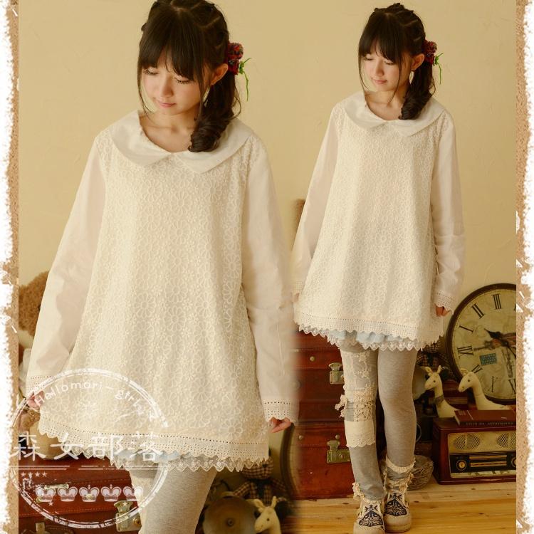 秋装新款女装森女系日系圆领蕾丝甜美长袖衬衫小清新