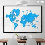墙贴亚克力3D客厅装饰卧室贴画世界地图创意家居办公室立体