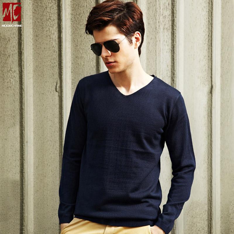 秋装男士毛衣韩版潮流修身v领长袖套头薄针织衫