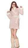芬狄诗专柜正品FL6409秋冬女家居服加厚可爱条纹珊瑚绒睡袍浴袍