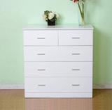 宜家木质五斗柜特价组装5斗柜白色五斗橱卧室抽屉柜阳台储物柜
