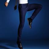 男士英伦夏季新款休闲裤韩版修身型四面弹力小脚免烫西装长裤男裤