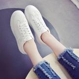 新款小白鞋女平底圆头系带单鞋板鞋时尚百搭休闲运动鞋韩版学生潮