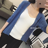 DIN韩国夏装新款短款冰丝针织衫女开衫薄 2016纯色防晒衣空调衫