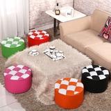 矮凳子小圆凳沙发卧室客厅茶几凳时尚创意实木皮敦子小板凳换鞋凳