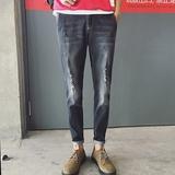 秋季新款韩版破洞牛仔裤男士小脚裤修身刮烂牛仔直筒长裤子男版潮