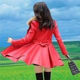 秋冬装新款女装真皮皮衣中长款韩版修身时尚女士大码夹克风衣外套