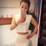 2016春装韩版新款连衣裙女套装白色铅笔裙高腰职业装套裙无袖时尚