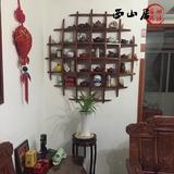 小型挂墙博古架实木圆形挂壁多宝阁创意展示置物架原木定做古玩架