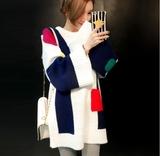 韩国代购秋冬季宽松韩版拼色中长款套头毛衣女加厚学生针织连衣裙