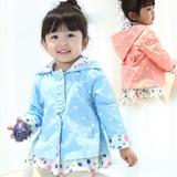 女宝宝新款春装休闲外套1-2-3-4岁女童韩版连帽风衣时尚女孩上衣