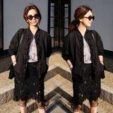 2016秋季新款韩版修身显瘦短款立领木耳花边夹克风衣短外套上衣女