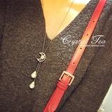 韩国代购 星星月亮 微镶锆石水 闪流苏珍珠 玫瑰金 毛衣链长项链