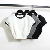 韩版性感高腰露脐短款针织T恤简约百搭修身短袖针织衫上衣女 春夏