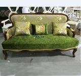 美式实木沙发 布艺客厅做旧沙发 双人三人沙发美式样板间定制家具