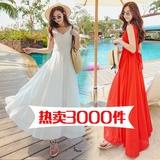 红色连衣裙夏 韩国显瘦雪纺露背海边度假波西米亚沙滩裙白色长裙