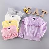 春夏女童镂空针织开衫 女宝宝薄外套韩版0-1-2-3岁 婴儿毛衣服装