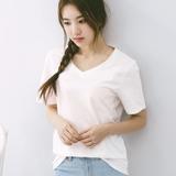短袖白色t恤女夏季V领宽松简约百搭纯色打底衫纯棉韩版女装上衣