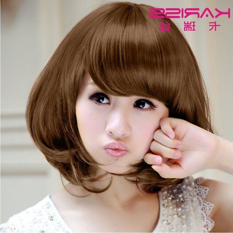 卡瑞丝时尚可爱甜美斜刘海中长女生短假发 短发 bobo 梨花头发型c图片