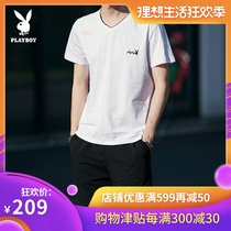 Playboy short-sleeved T-shirt male suit 2019 summer new casual V-neck slim compassionate Korean five-point shorts