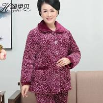 Winter Pajamas Lady three floor thickening warm home suit set old mother granny Grandma cotton jacket Velvet