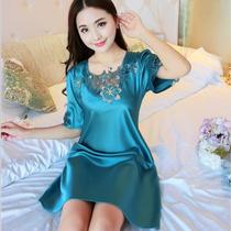 2017 summer nightdress girl cute long pajamas short-sleeved silk slim nightdress Ice Silk sexy Home Group