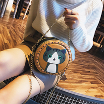 ins Super fire cute cartoon small round bag female 2018 new chain messenger bag Korean wild handbag