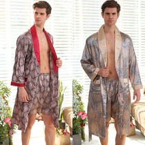 Men's long-sleeved silk satin robe paired with shorts set home bathrobe luxury bathrobe Big code XXXXXL