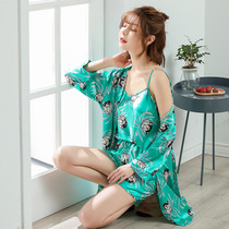 Spring and summer ladies sexy silk satin long-sleeved shorts three-piece robe suspenders pajamas Ice Silk home service