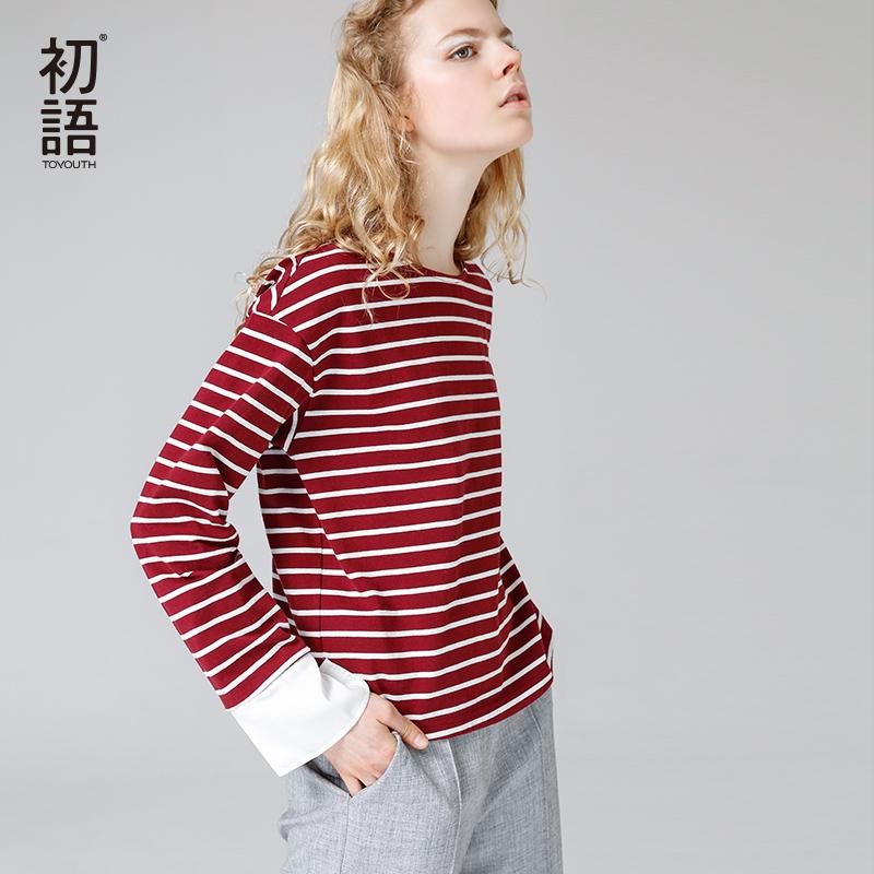 群里有红包挂怎么办2017秋装新款文艺拼接细条纹圆领宽松纯棉长袖拼接袖T恤女