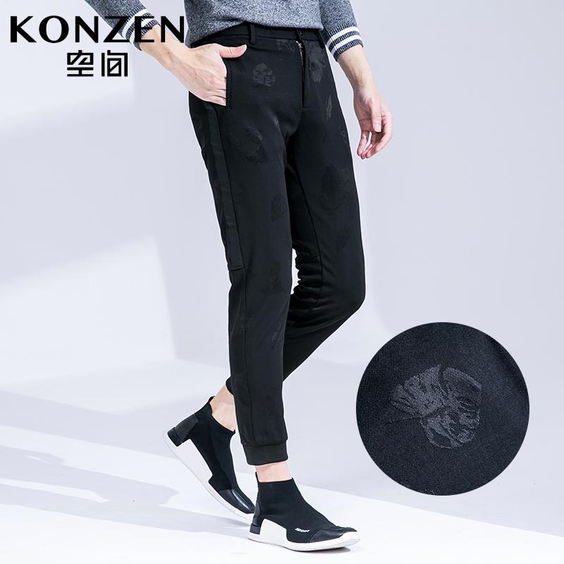 KONZEN空间男装秋季新品黑色潮流修身束脚裤休闲裤九分裤小脚裤子