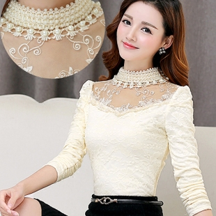 高领蕾丝衫女冬季订珠镂空修身加绒加厚打底衫长袖保暖衣