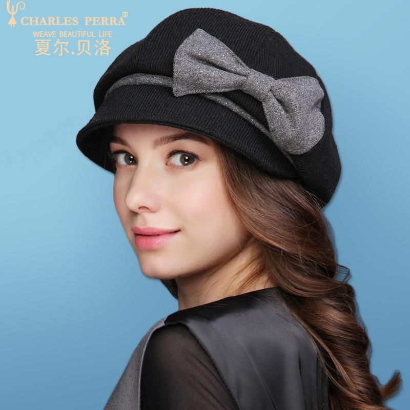 帽子女秋冬新品加厚保暖帽韩版潮优雅贝雷帽百搭羊毛呢帽加绒冬帽