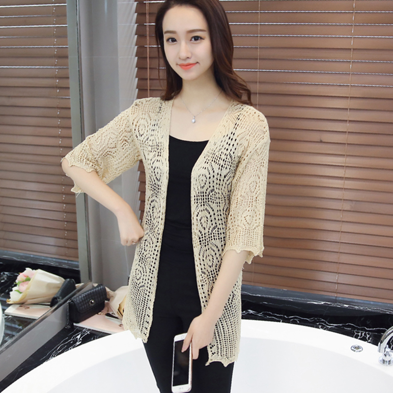 新品薄款针织开衫女毛衣外搭秋季韩版外套中长款镂空针织衫小披肩
