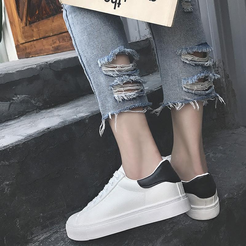 小白鞋女秋季皮面帆布鞋女鞋pu韩版潮街拍休闲鞋港风百搭白色板鞋
