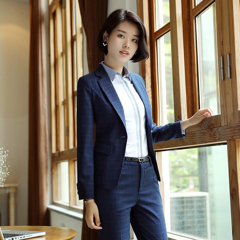 职业装女装套装长袖女士西服套裤修身面试正装三件套商务西装春秋