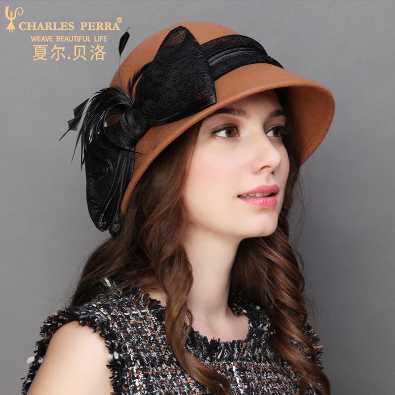 秋冬季女士帽子羊毛毡帽韩版保暖定型帽优雅休闲贝雷帽小礼帽呢帽