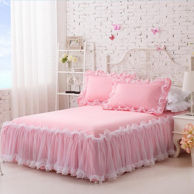 栋轩家纺 韩版纯棉床裙  纯色蕾丝床罩单件夏季花边床单床套1.8米