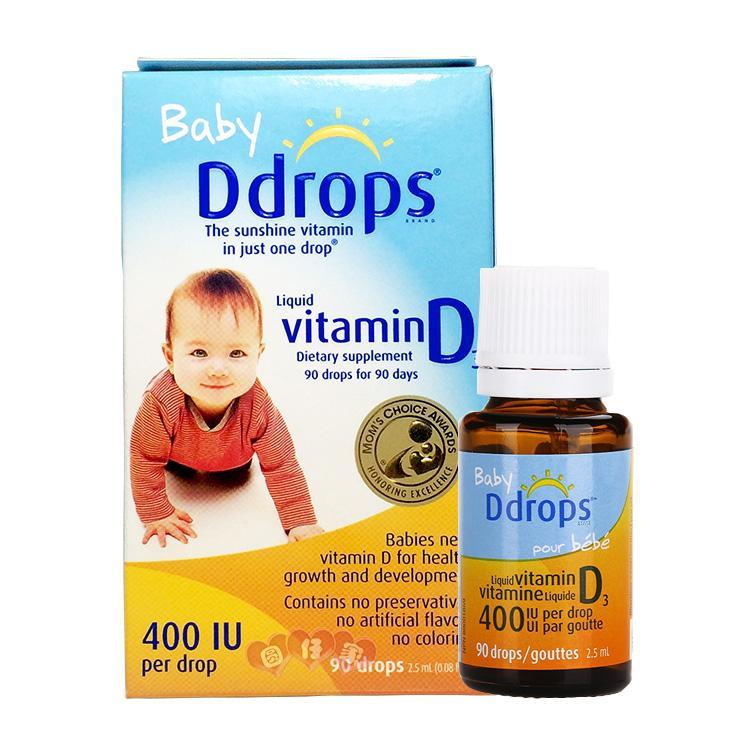 加拿大进口ddrops维生素d3婴儿滴剂ddrop婴儿钙滴剂d drops维生素