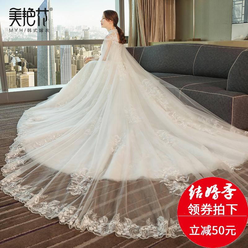 婚纱礼服2017新款夏韩式立领显瘦蕾丝新娘结婚修身简约长拖尾婚纱